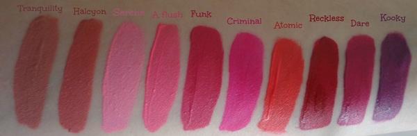 MUA Luxe Velvet lip lacquers - swatches (όλες οι αποχρώσεις)