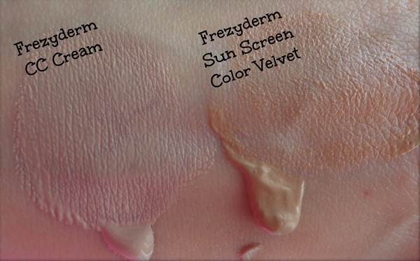 Frezyderm CC Cream vs sun screen color velvet