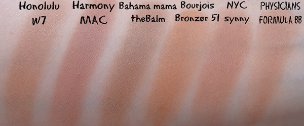 summer bronzers matte swatches