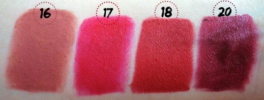 golden rose lipsticks swatches 16 17 18 20