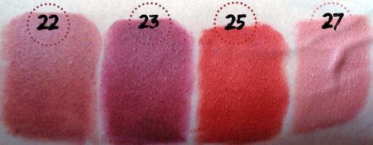 golden rose lipsticks swatches 22 23 25 27