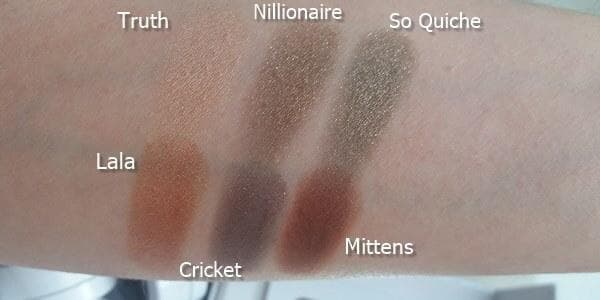 mile high colourpop Truth, Nillionaire, So Quiche, Lala, Cricke, Mittens swatches