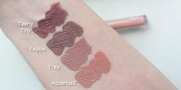 Aquarius2, Trap, Kapow Teeny Tiny ultra matte lip swatches
