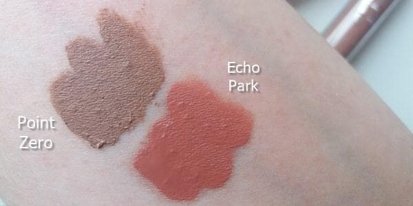 ultra satin lip swatches Point Zero Echo Park swatches