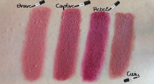 MAC κραγιόν - MAC lipstick Swatches brave captive rebel Twig