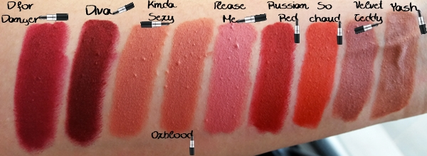MAC matte lipsticks κραγιόν Swatches, d for danger diva kinda sexy oxblood please me russian red so chaud velvet teddy Yash